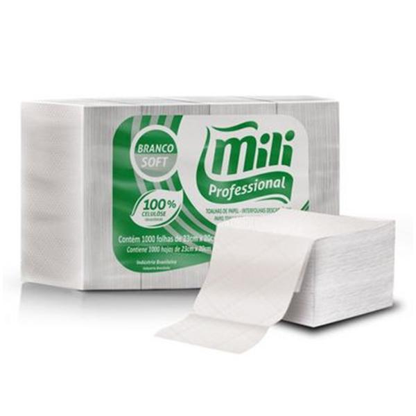 Toalha de Papel Interfolha 100% Celulose - Mili - 20x23 cm 1000 fls