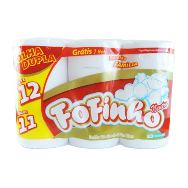 Papel Higiênico Folha Dupla - Fofinho - 12x30 mts