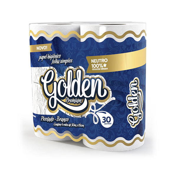 Papel Higiênico Folha Simples - Golden - 4x30 mts
