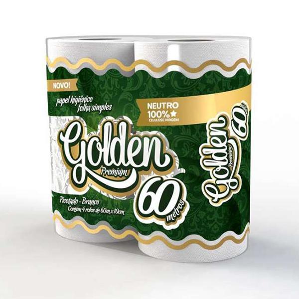 Papel Higiênico Folha Simples - Golden - 4x60 mts