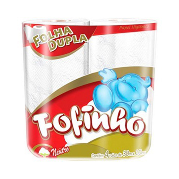 Papel Higiênico Folha Dupla - Fofinho - 4x30 mts
